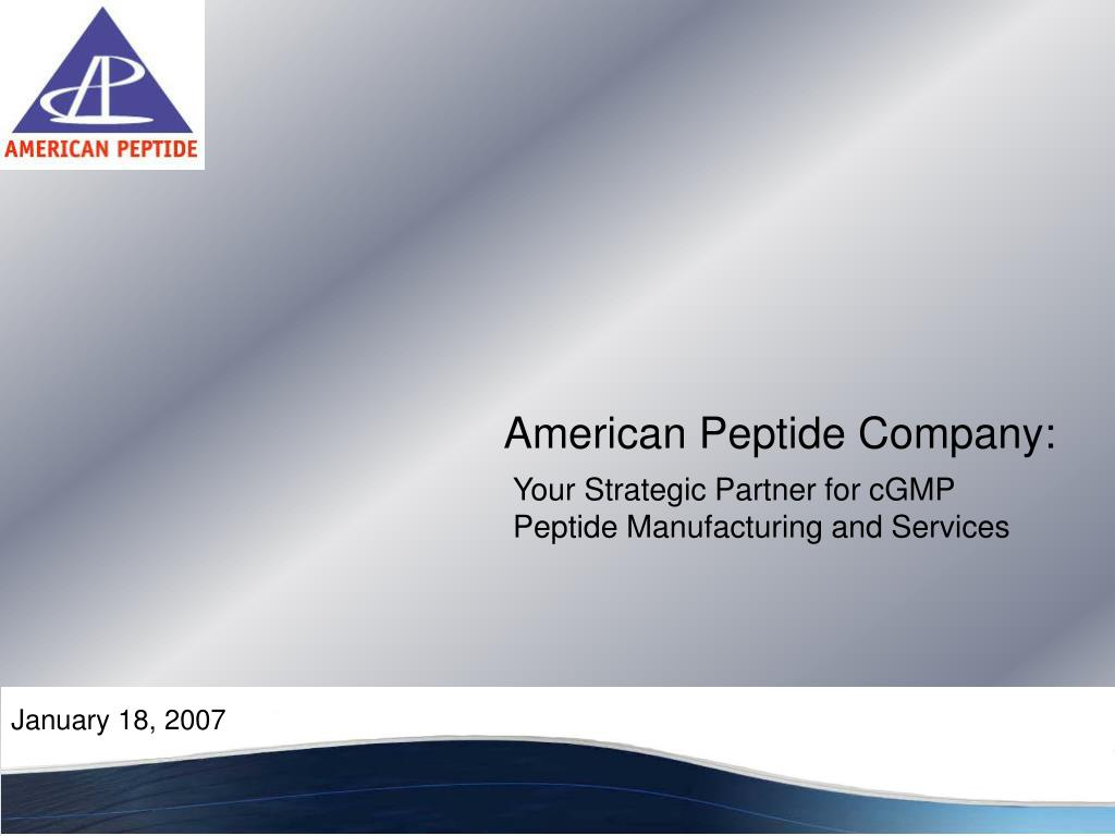 your strategic partner for cgmp peptide manufacturing and services l.