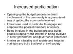 increased participation