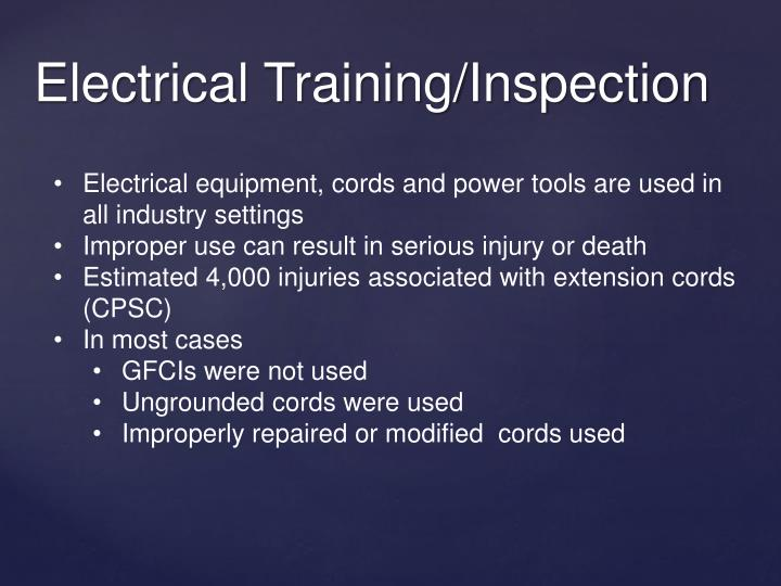 Electrical training inspection