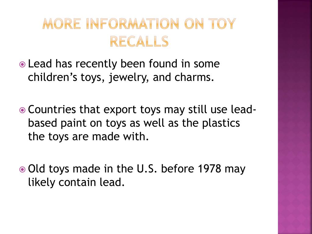 More Information on Toy Recalls