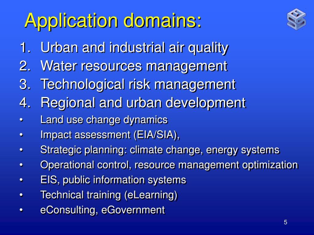 Application domains: