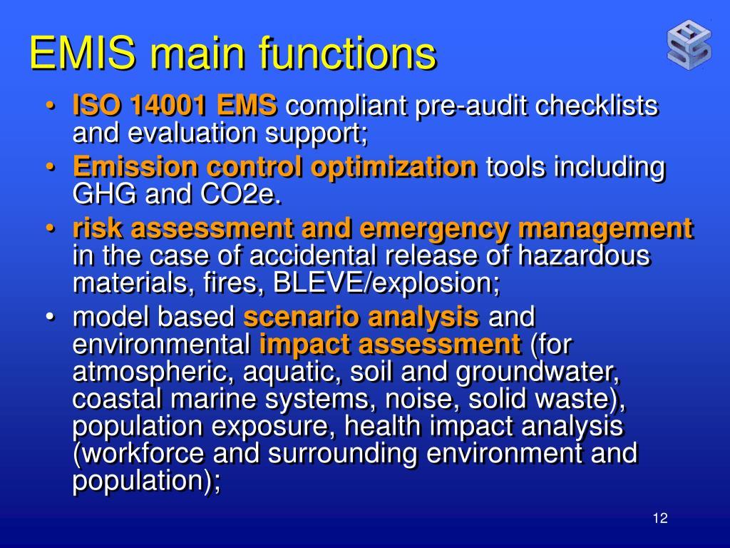 EMIS main functions