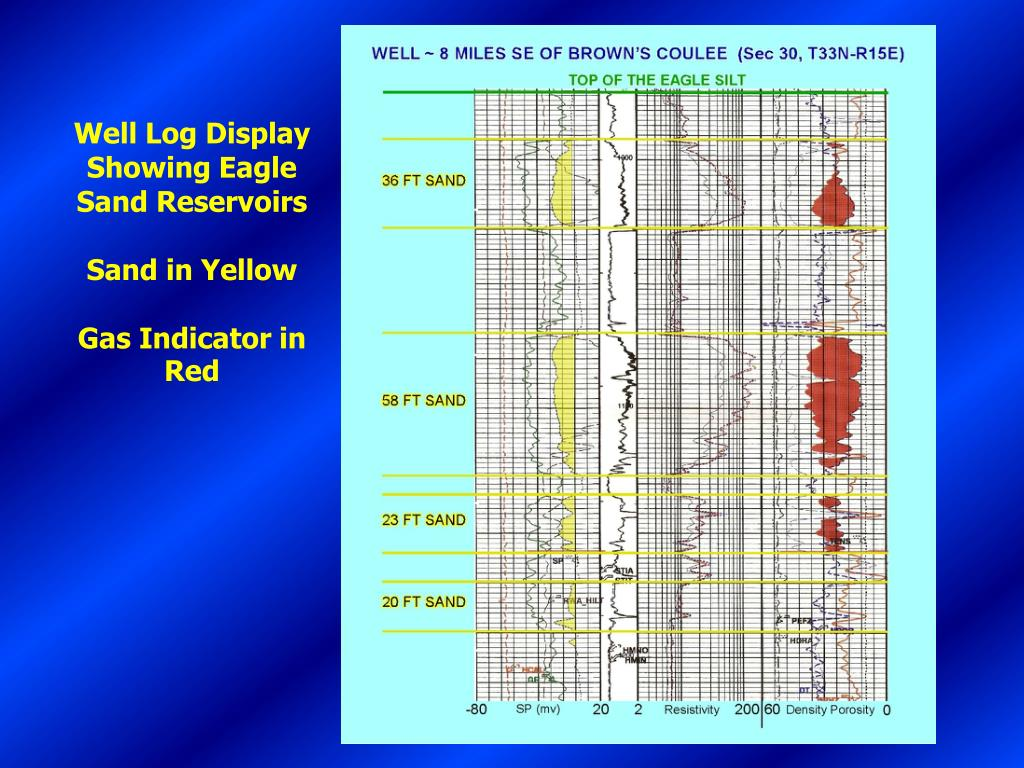 Well Log Display Showing Eagle Sand Reservoirs
