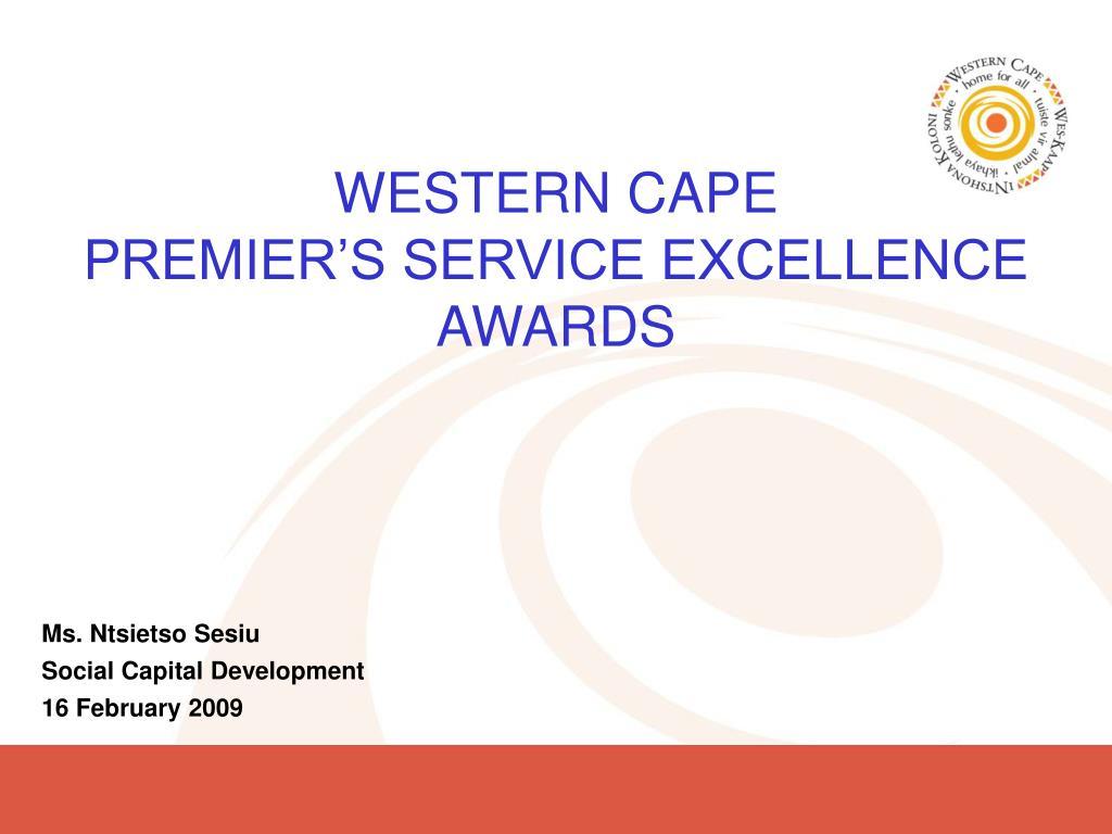 western cape premier s service excellence awards l.