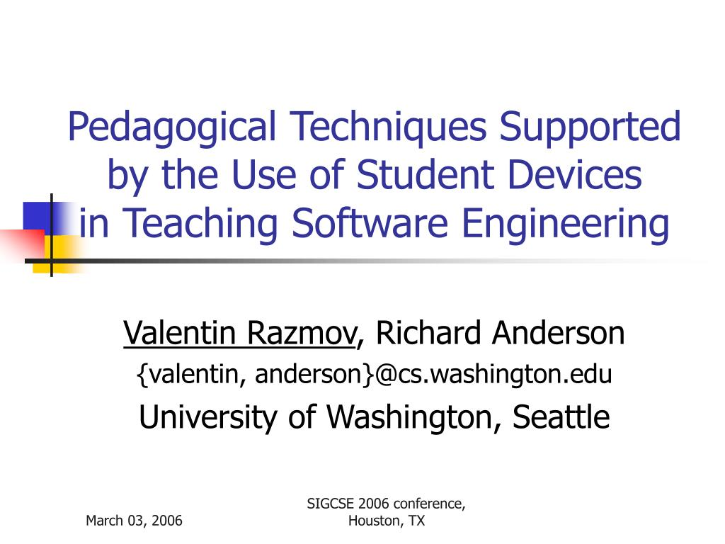 pedagogical techniques supported by the use of student devices in teaching software engineering l.
