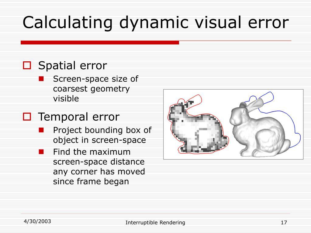 Calculating dynamic visual error