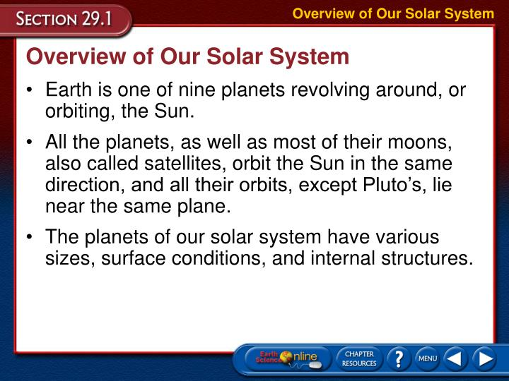 overview of our solar system n.