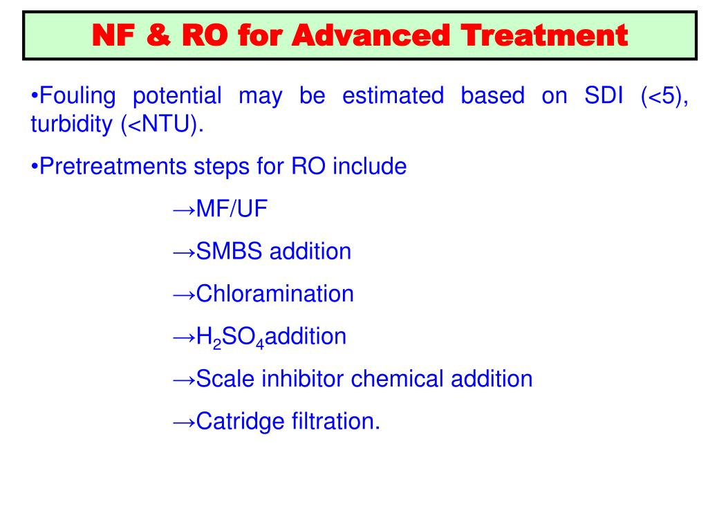 NF & RO for Advanced Treatment