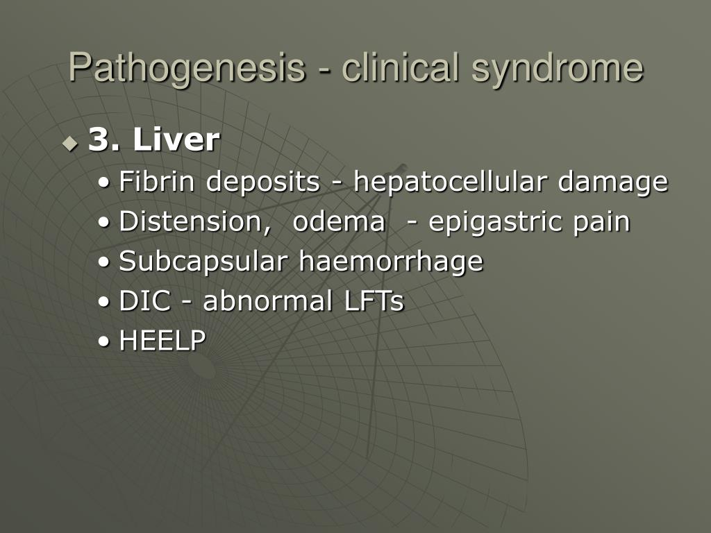 Pathogenesis - clinical syndrome