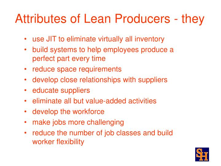 Attributes of lean producers they