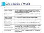 ecd indicators in mics3