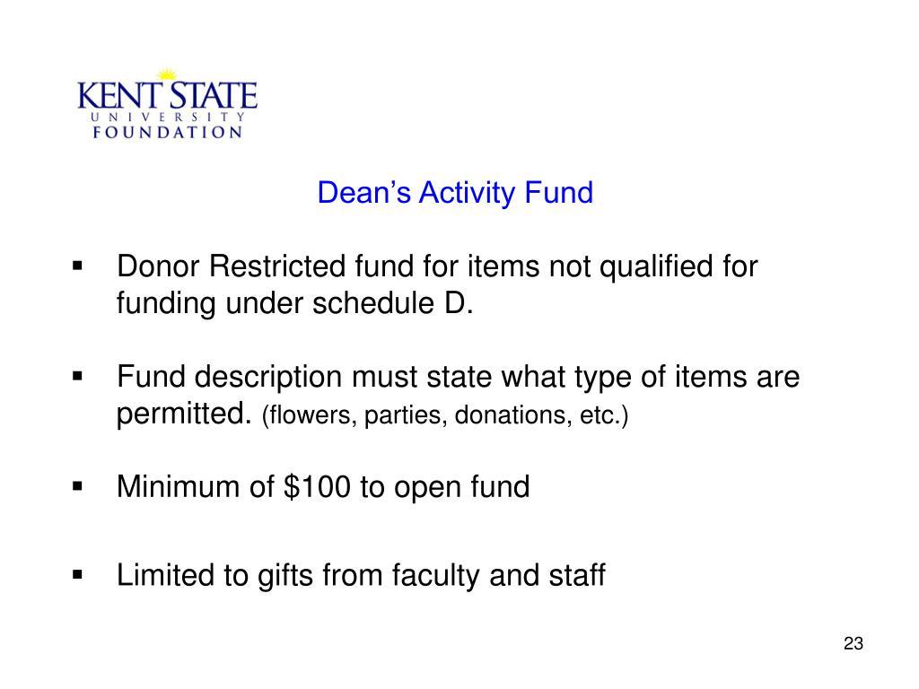 Dean's Activity Fund