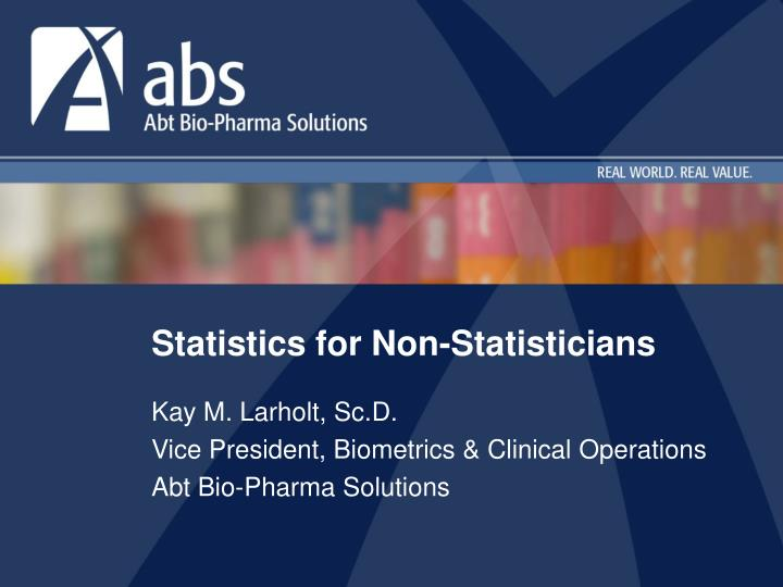 statistics for non statisticians n.