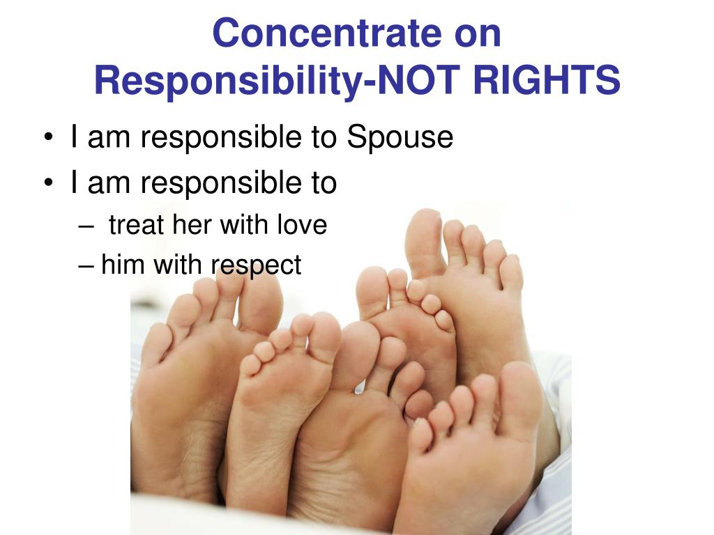 Concentrate on          Responsibility-NOT RIGHTS