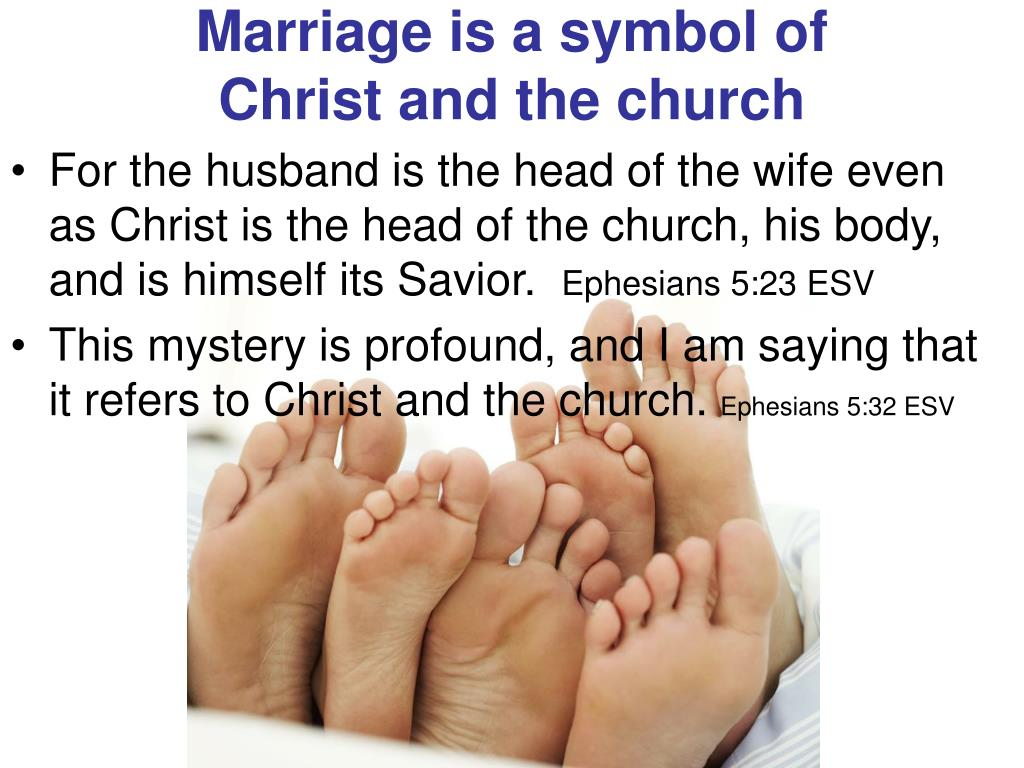 Marriage is a symbol of              Christ and the church