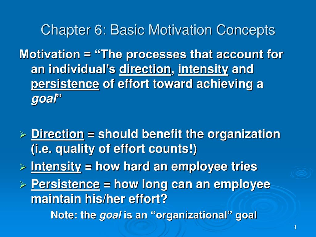 Chapter 6: Basic Motivation Concepts