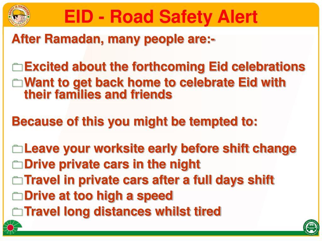 EID - Road Safety Alert
