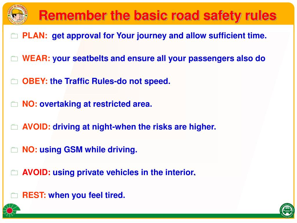 Remember the basic road safety rules