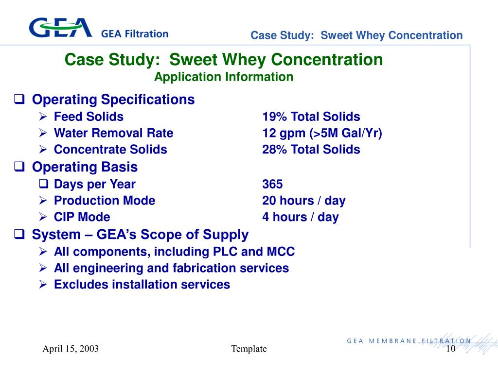 Case Study:  Sweet Whey Concentration