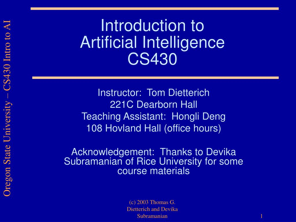 introduction to artificial intelligence cs430 l.
