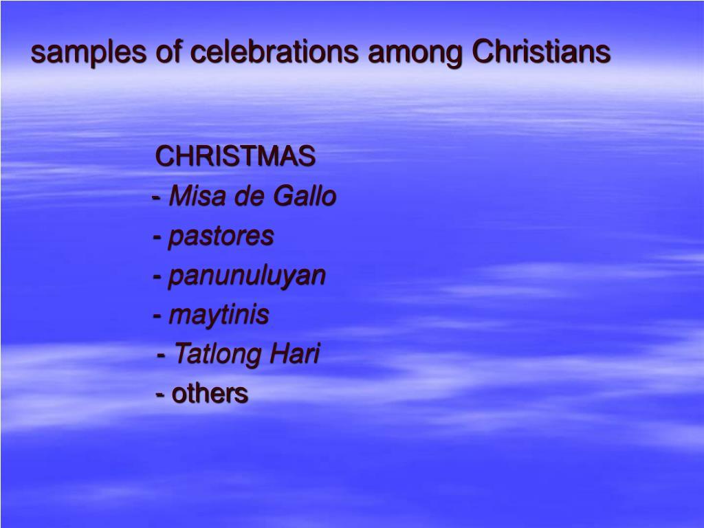 samples of celebrations among Christians