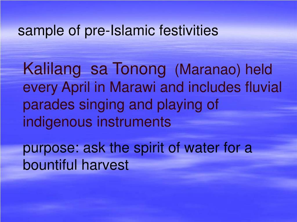 sample of pre-Islamic festivities