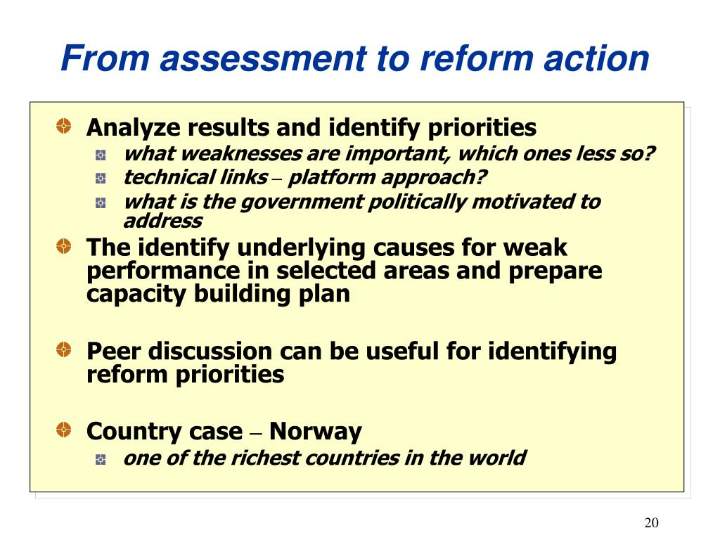 From assessment to reform action