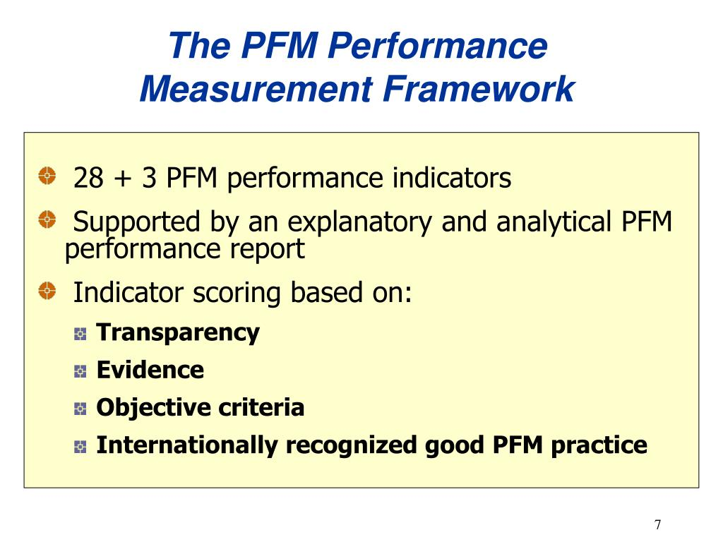 The PFM Performance