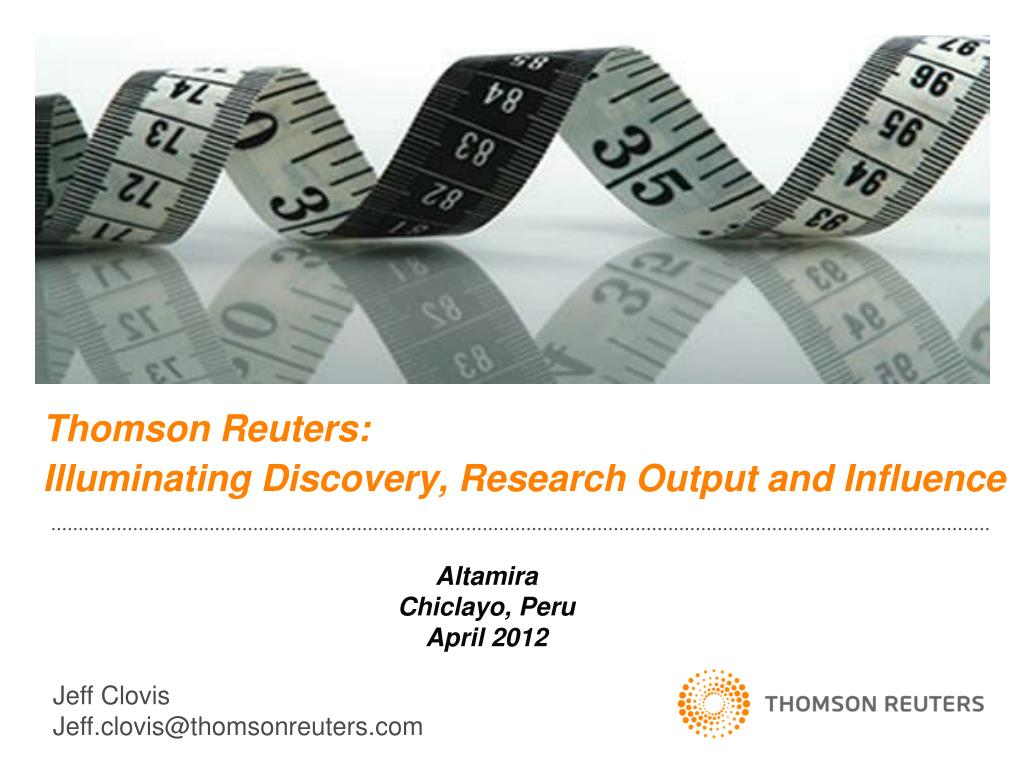 thomson reuters illuminating discovery research output and influence l.