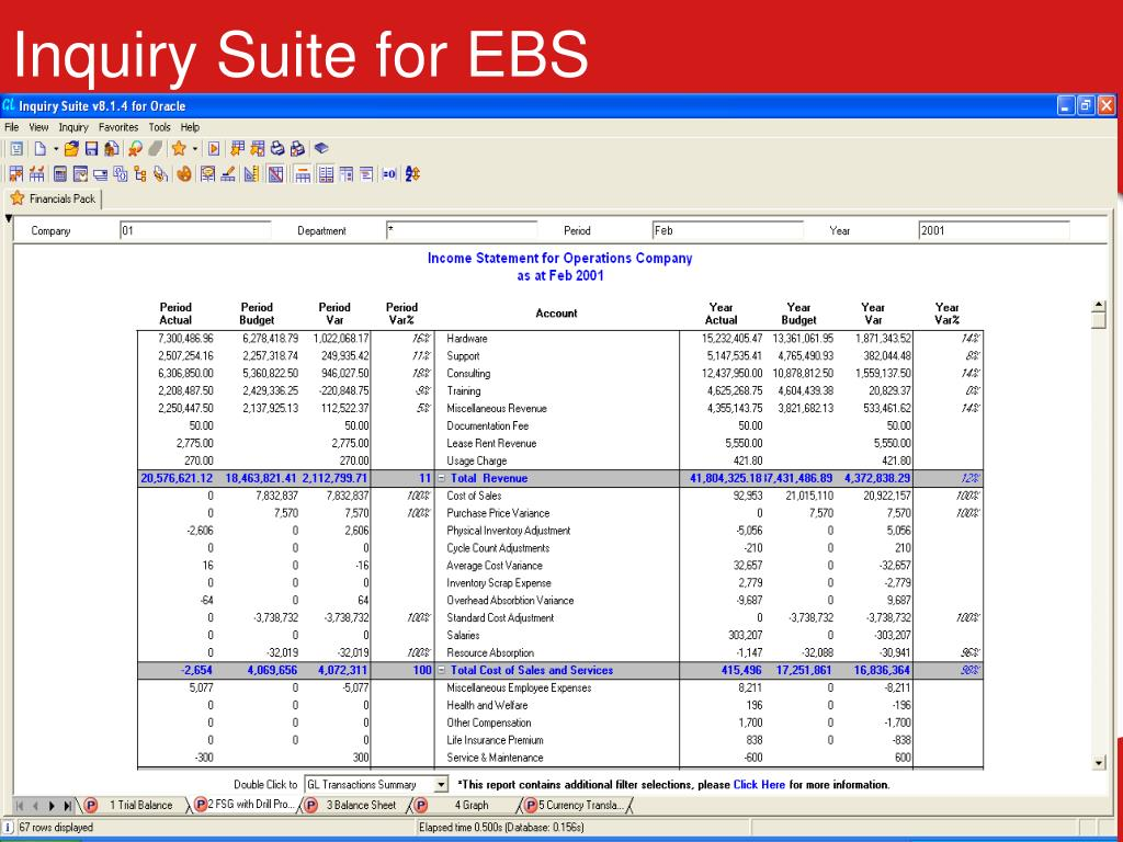 Inquiry Suite for EBS
