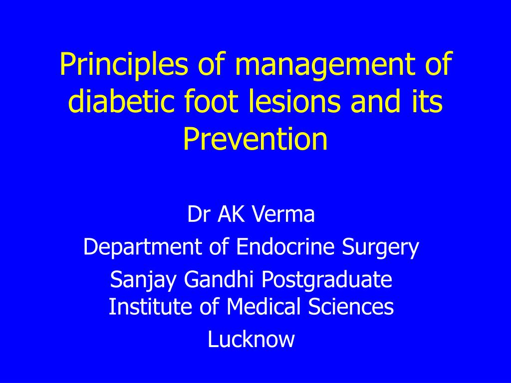 principles of management of diabetic foot lesions and its prevention l.