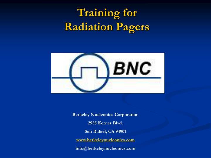 Training for radiation pagers
