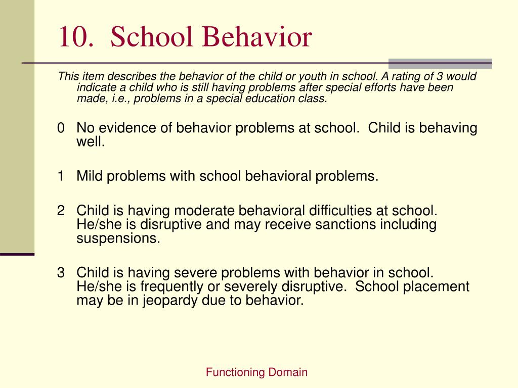 10.  School Behavior
