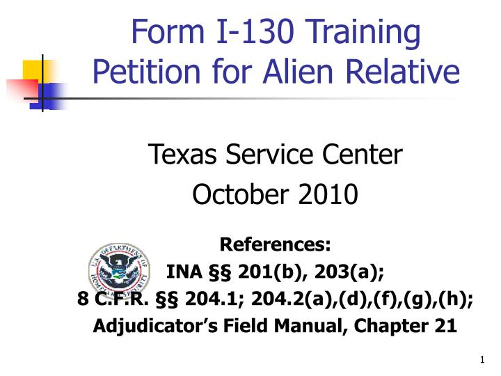 form i 130 training petition for alien relative n.