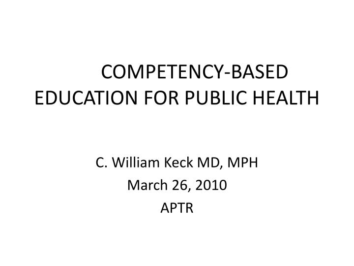 competency based education for public health n.