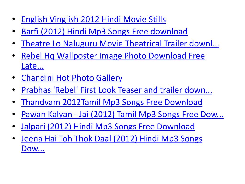 PPT - mp3 movie songs download free hindi telugu tamil