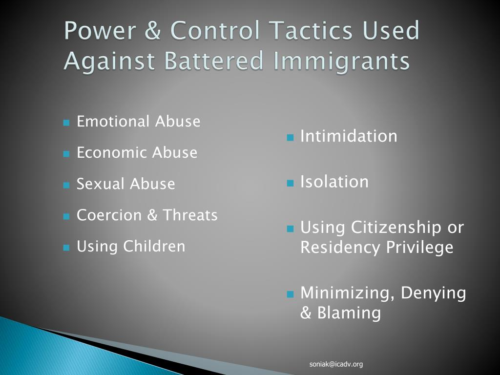 Power & Control Tactics Used Against Battered Immigrants