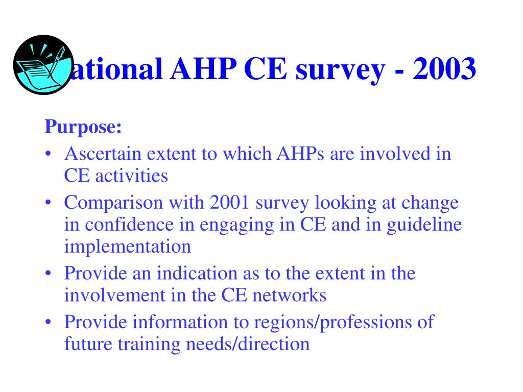 National AHP CE survey - 2003
