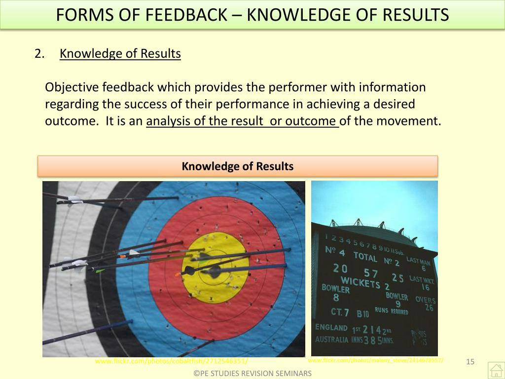 FORMS OF FEEDBACK – KNOWLEDGE OF RESULTS