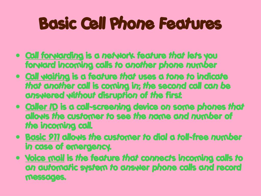 Basic Cell Phone Features