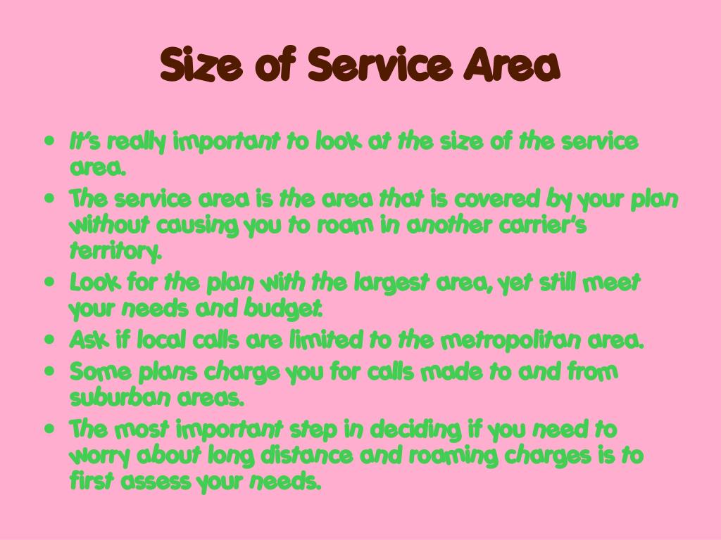 Size of Service Area