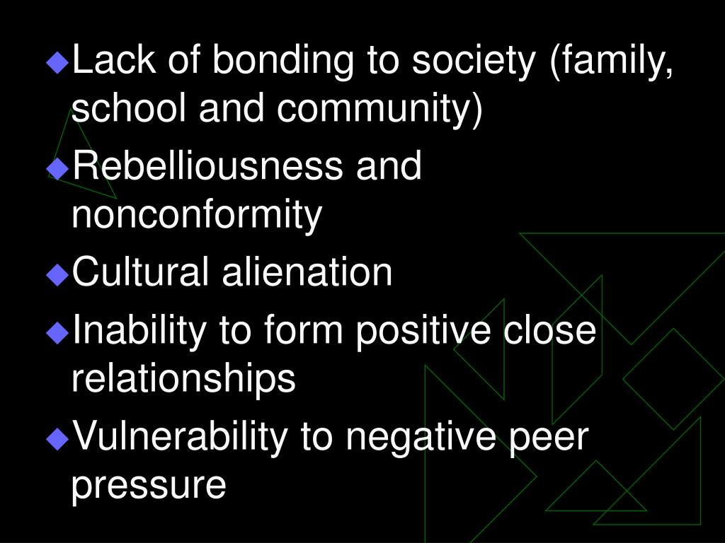 Lack of bonding to society (family, school and community)
