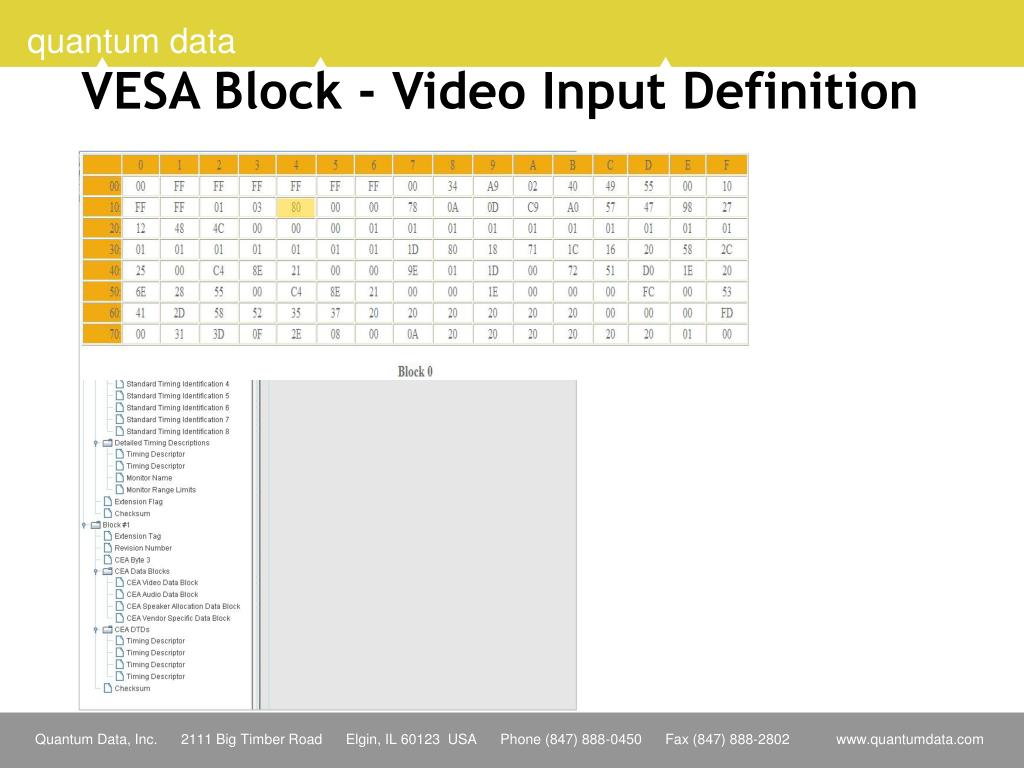 VESA Block - Video Input Definition
