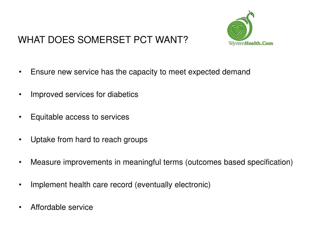 What does Somerset PCT want?