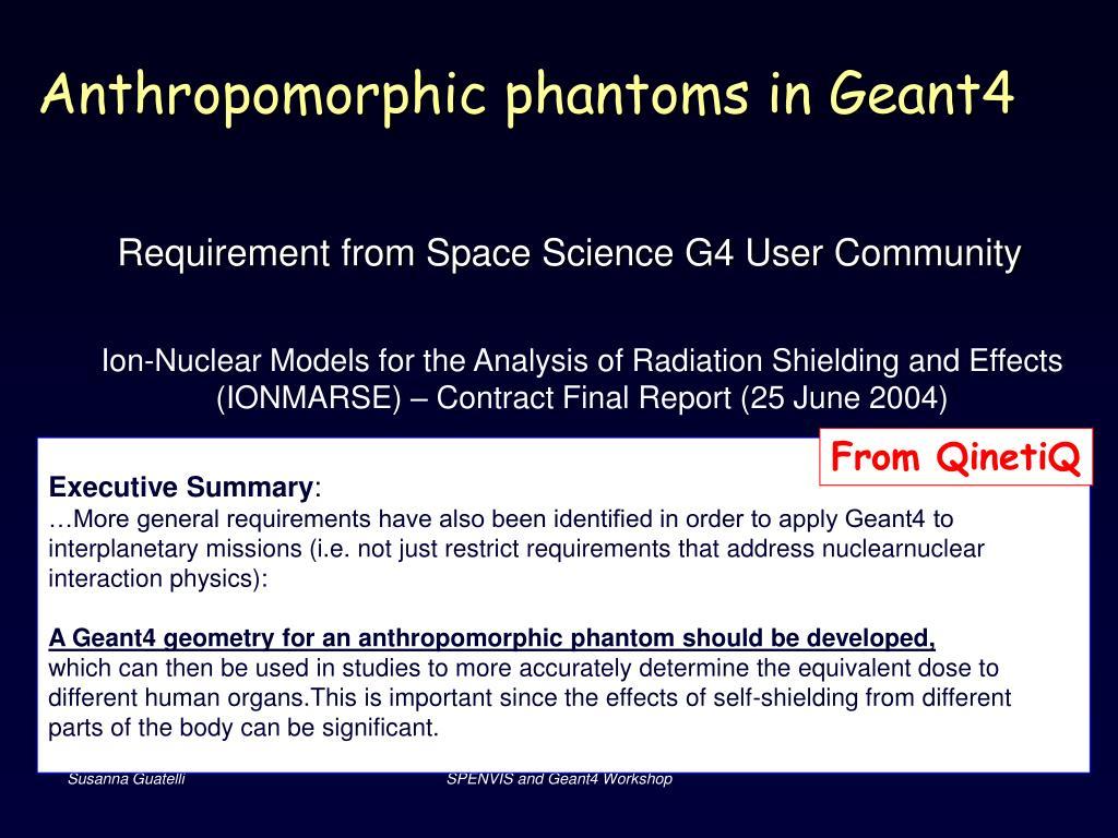 Anthropomorphic phantoms in Geant4