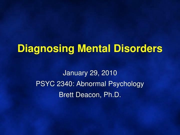 abnormal psychology mental disorders essay