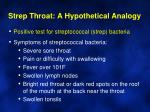 strep throat a hypothetical analogy