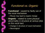 functional vs organic