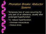 phonation breaks abductor spasms