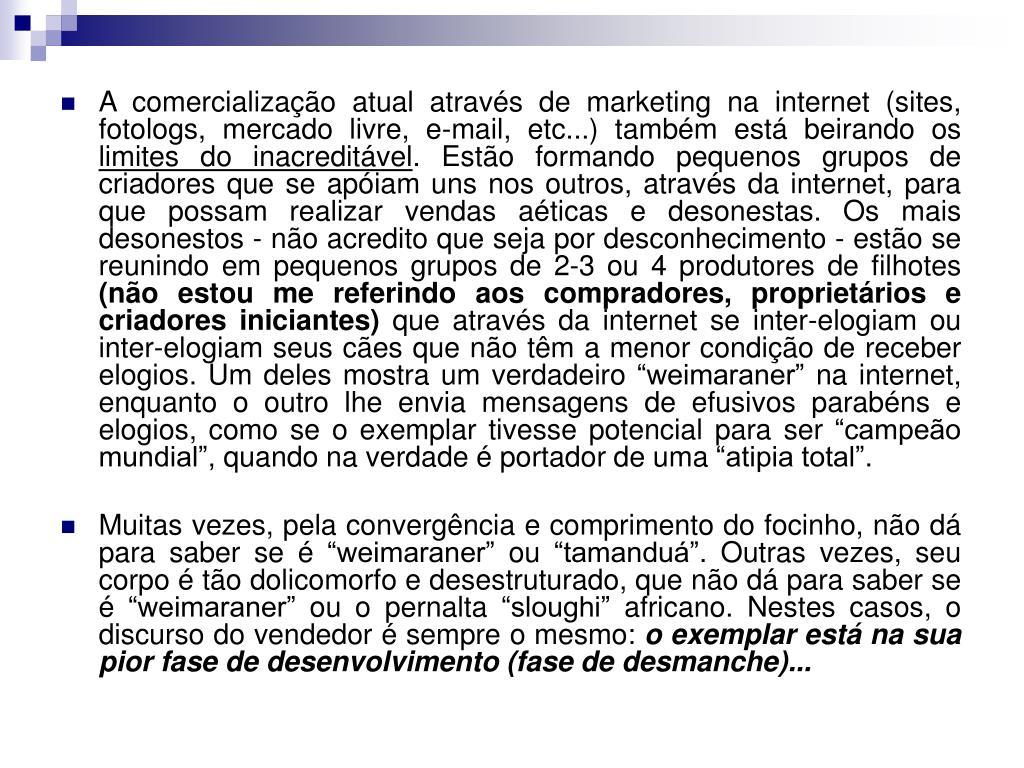A comercialização atual através de marketing na internet (sites, fotologs, mercado livre, e-mail, etc...) também está beirando os